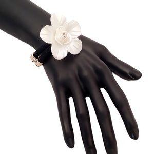 Black Bracelet with White Flower
